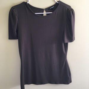 Express key hole back puff sleeve shirt